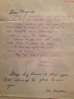 Her letter to her students.