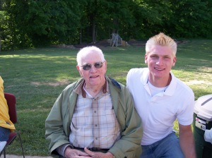 Andrew and his Great Grandpa Folkert at his high school graduation open house. Grandpa must have been almost 94.
