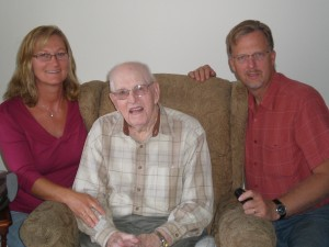 My husband and I with hisGrandpa Folkert in 2010.